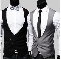 Wholesale men s V neck Slim vest mens Suit vest Outerwear black gray