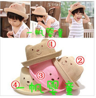 Wholesale children baby cute hats bear modeling hemp hat children straw hat colors danyds