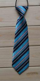 Wholesale School Boys Childrens Kids On Elastic Tie Necktie Diffrent Styles Leopard Grain Design Light Blue