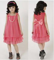 Wholesale Girls Beautiful Dress Lace Princess Dress Chiffon Dresses Watermelon red Skirts Children Clothes