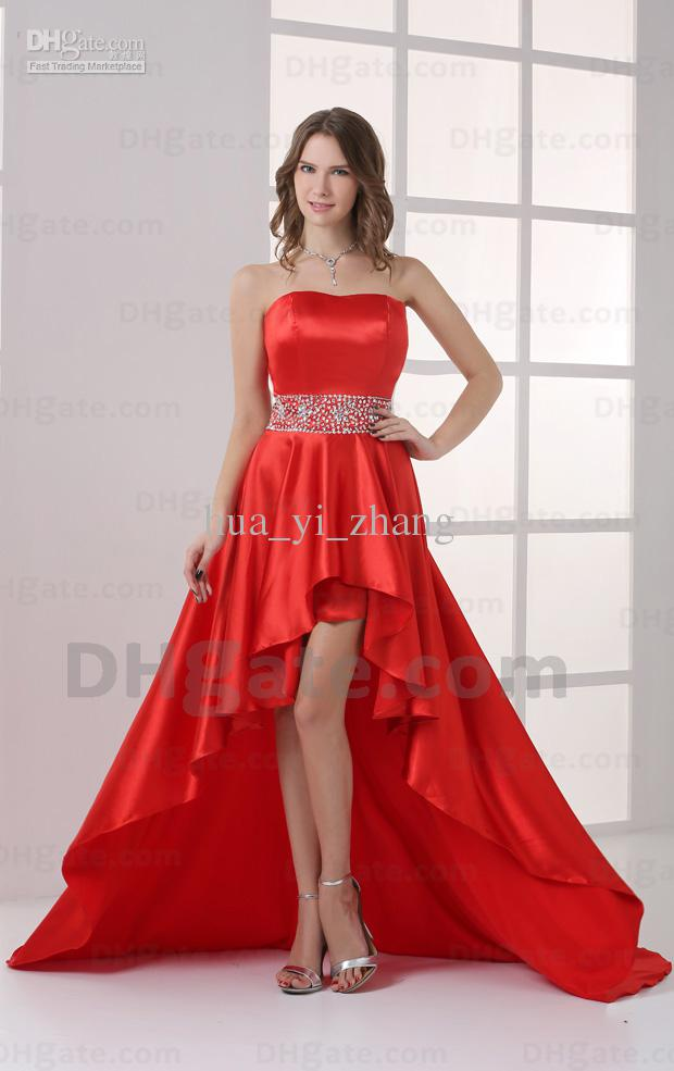 2015 Sexy Red Hi Lo Strapless Prom Dresses Elastic Satin Beaded ...