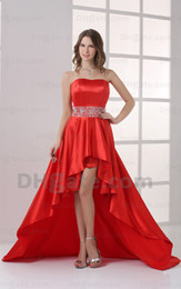 2015 Sexy Red Hi Lo Strapless Prom Dresses Elastic Satin Beaded Sweep Train Evening Gowns HW055 Dhyz 01