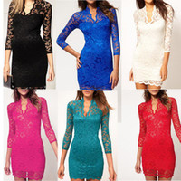 Wholesale Promotion New Women Lace Dress Scalloped V Neck Ladies Sexy Slim Sleeve Cocktail Dress G0045