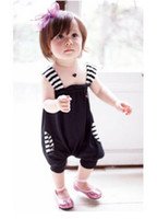 baby feet pants - Summer Baby clothing Stripe shrinkage feet suspender girls romper pants infants clothes Jumpsuits