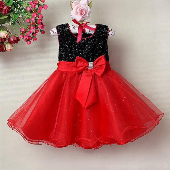 Fashion Baby Girl Dresses Red And Black Children Party ...