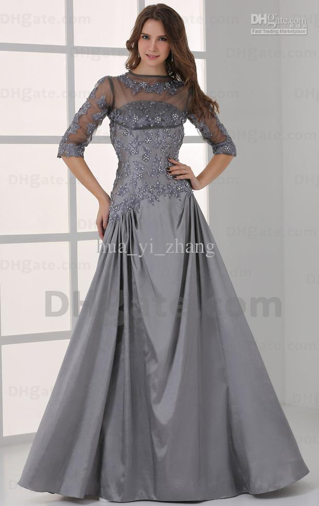 2015 A Line Grey Evening Dresses Elbow Detachabe Emboridery Beaded ...