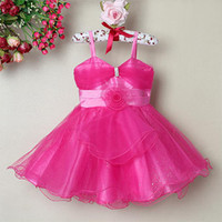 Wholesale 2013 Beautiful Baby Girl Party Dress Hot Pink Little Girl Princess Dress Kids New Year Clothes