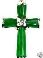 Wholesale Beautiful Green Jade Cross Pendant Necklace