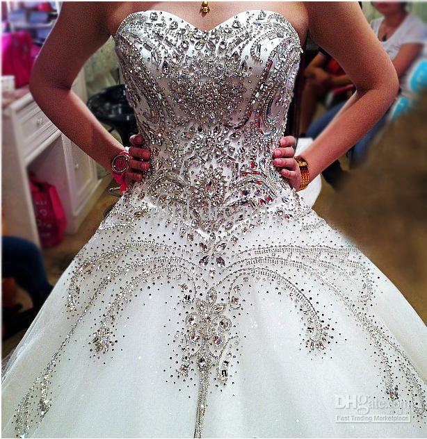 Cathedral ivory sweetheart ball gown rhinestone applique for Crystal design wedding dresses price