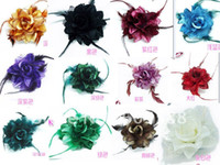 Women's Acrylic, Resin, Lucite Brooches 60PCS Lot,Hot Sale Free Shipping,Fashion Fabric Feather Rose Brooch Flowers Hair Flower Headgear +Ar