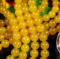 Wholesale 6mm yellow Jade Round Gemstone Loose Beads inch