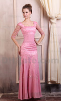 Wholesale 2013 Pink Square Sheath Mother of Bridal Dresses Embroidery Beaded Sequins Chiffon Sweep Train MZ058