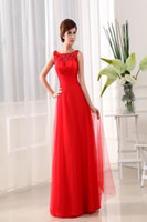 Wholesale New Arrival Real Picture Applique Beaded Spaghetti Strap Long Red Chiffon Prom Dresses Evening Gown