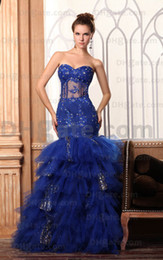 2015 Royal Blue Tulle Evening Dresses Beaded Ruffles Multi-layer Mermaid Sequins BY065 Dhyz 01