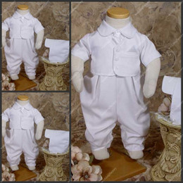 Wholesale Short Sleeve Ankle Length Taffeta Babies Rompers White Christening Clothes First Communion Gowns