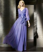 Lavender V Neck Long Sleeve Chiffon Prom Evening Dresses 201...
