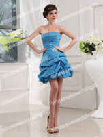 Wholesale New Arrival Light Sky Blue Ruffle And Beaded Short Taffeta Cocktail Dress Real Sample