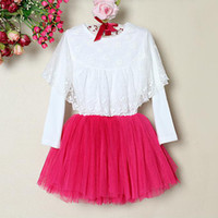 pettiskirts - Baby Dress With Long Sleeve Hot Pink Girls Lace TuTu Dress Kids Party Pettiskirts Spring Dress