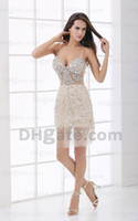 Wholesale 2013 Dhgate Hot Spaghetti Straps Champagne Tulle Rhinestone Backless Mini Cocktail Dresses DH00253