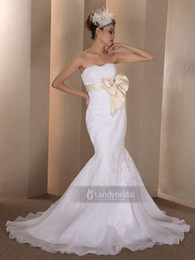 Wholesale Trumpet Mermaid Strapless Chapel Train Lace Champagne In Stock Wedding Dress B06395
