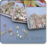 Nail Art 3D Decoration Nail Art Rhinestones Rhinestone & Decoration 3 Mixed Design Golden Nail Art Decoration Acrylic Tips Metal Sticker 3packs lot Wholesale