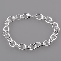 Wholesale Cool and simple circle link chain silver barcelet with lobster clasp QSB046
