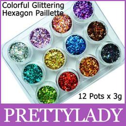 Freeshipping - 12 Pots x 3g Coloré Paillettes Hexagone Paillette Décoration Nail Art Drop shipping à partir de ongles glitter pots fabricateur