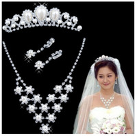 Wholesale wedding jewelry set pearl crown necklace pearl earring set set retail drop ship accept