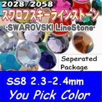 Wholesale Nail Rhinestones Common color U PICK ss8 mm Silver Foil Back Crystal hotsal