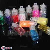 Wholesale 10x Mini Bottle Set Glitter Hexagon Nail Art Tips Rhinestone Decoration Manicure
