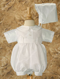 Wholesale Short Mini Rompers - Mini Length Ruffled Baby Boys' Rompers Short Sleeves Infant First Communion Gowns Christening Clothes