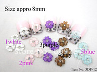 Nail Art 3D Decoration bead storage with free shipping - D bag petal Crystal Acrylic Flower with Rhinestones Nail Art Decorations