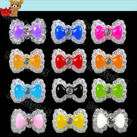 Wholesale New Mix Color Acrylic Cute Bowknot Bow Tie Glitters Gel UV D Nail Art Tips Nail Decor