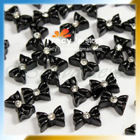 Wholesale 3D Acrylic Black Color Dot Resin Ribbon Flatback Beads Sticker Bowknot Bow Rhinestone Tie Nail Art T