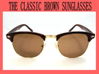 Wholesale Classic Retro Men s Sunglasses CLUBMASTER SUNGLASSES Brown Frame Metal Mirror Circle