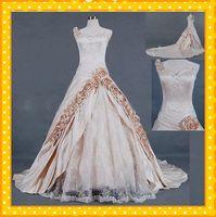 Wholesale 2012 Spaghetti Straps Champagne Appliqued A line cathedral Taffeta Online Wedding Bridal Dress Shop love_bridal