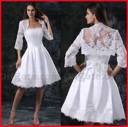 Wholesale Exquisite White A line Short Length Strapless Satin Applique Lace Weddingdresses with Jacket Custom