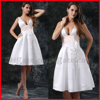 Wholesale Sexy A line Knee Length V neck Satin Sash Sleeveless Summer Beach Wedding Dresses White In Fashion
