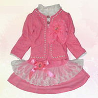 Wholesale Pretty Sets Girls Skirts Tutus Kids Suit Outfits Long Sleeve T Shirt Beautiful Flower Girl Coats