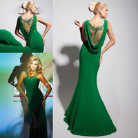Wholesale Fashionable Green Halter Crystal Beading Chiffon Mermaid Formal Dress Evening Gown Prom Party Dress