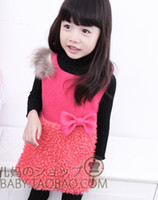 Wholesale Girls Winter dresses girls fashion vest skirt children cute flower sleeveless clothes sundress