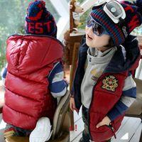 unisex 2T-3T Medium girls red hooded vest jackets gilet thick cotton waistcoat coats overcoats tops boys outerwear YXQ98