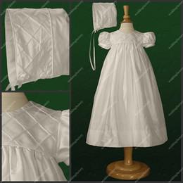Wholesale Floor Length Christening GownsTaffeta A Line Short Sleeve White Babies First Communion Dresses