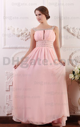 2015 Pink Bateau Evening Dresses Beaded Pleated Floor Length Sleeveless Backless BY071