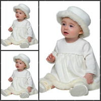 Wholesale Cute Christening Gowns with Artificial Wool Long Sleeve Winter White Babies First Communion Dresses