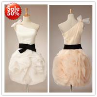 Wholesale Actual Picture Hot sale One Shoulder Black Sash Organza Mini Short Party Dress Cocktail Dress