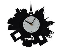 Wholesale Home Living Room Decor Recyle Vinyl Record Wall Clock Modern City Paris Black