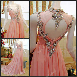 Fashion 2019 Prom Dress Actual Sample Crystals Pink Formal Dresses Evening Dresses Backless Floor Length EDS008