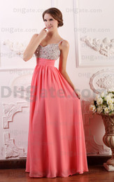 2015 Beaded Empire Evening Dresses Pleated Floor Length Sleeveless Spaghetti Backless BY072