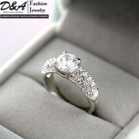 Wholesale Fashion Jewelry Xmas Gift K White Gold Plated CZ Diamonds Engagement Wedding Rings For Women DR002